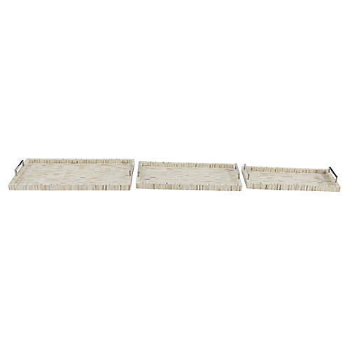 Asst. of 3 Vidal Decorative Trays, Ivory