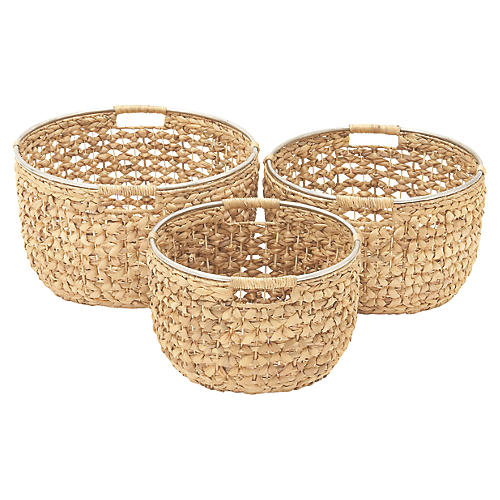Asst. of 3 Milgauss Decorative Baskets, Natural