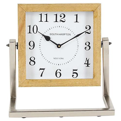 """14"""" Landry Clock, Natural/Silver"""