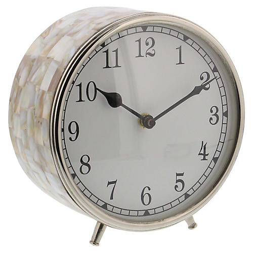 "7"" Benson Table Clock, Pearl/Silver"