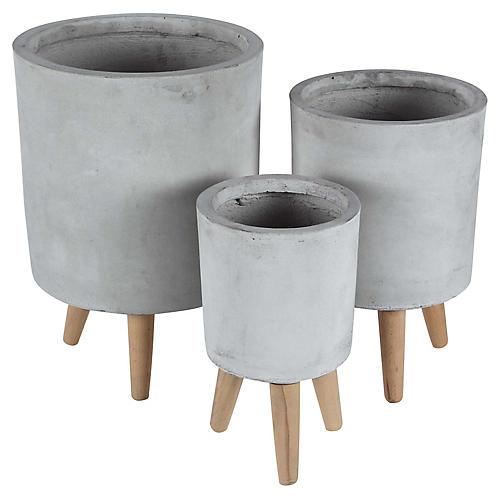 Asst. of 3 Govan Outdoor Planters, Pale Gray