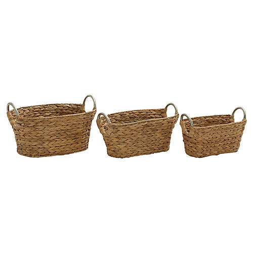 Asst. of 3 Bedford Decorative Baskets, Natural