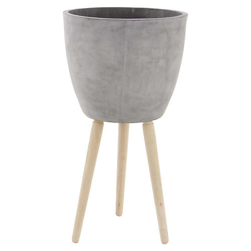 """29"""" Halle Outdoor Planter, Pale Gray"""