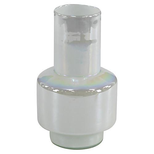 """13"""" Leah Short Vase, Pearl White"""
