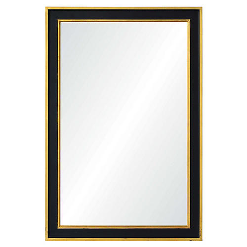 Jasper Wall Mirror, Gold Leaf/Black