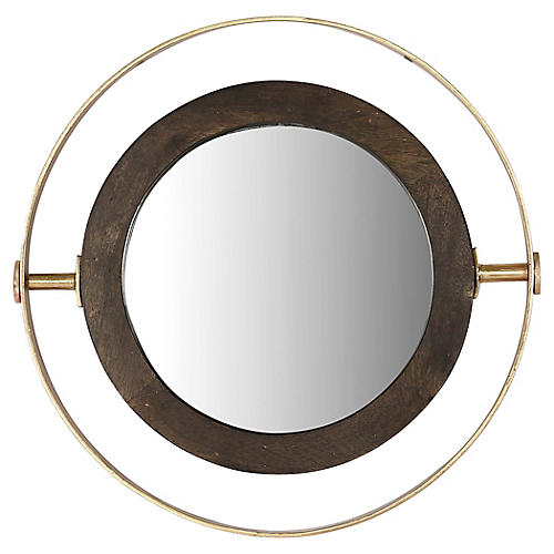 Kyndal Wall Mirror, Brass/Black