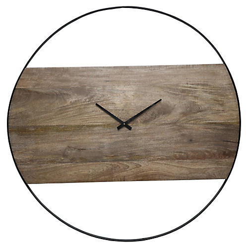 Amika Wall Clock, Natural/Black
