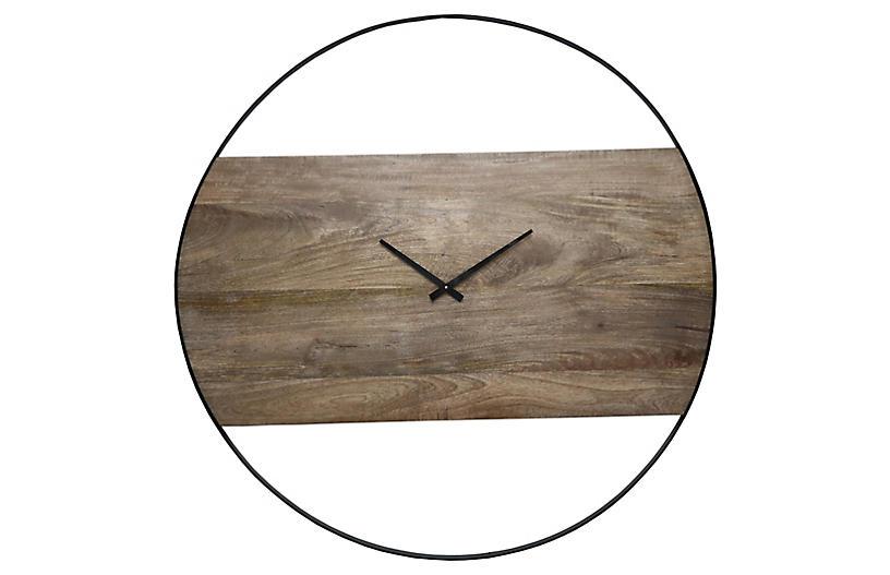 Amika Wall Clock, Natural/Black