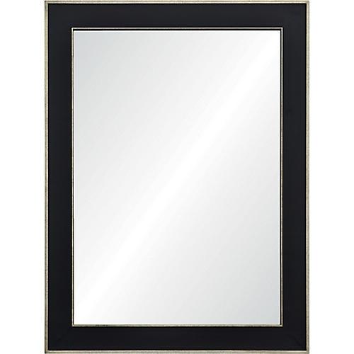 Maddox Wall Mirror, Black/Antiqued Silver