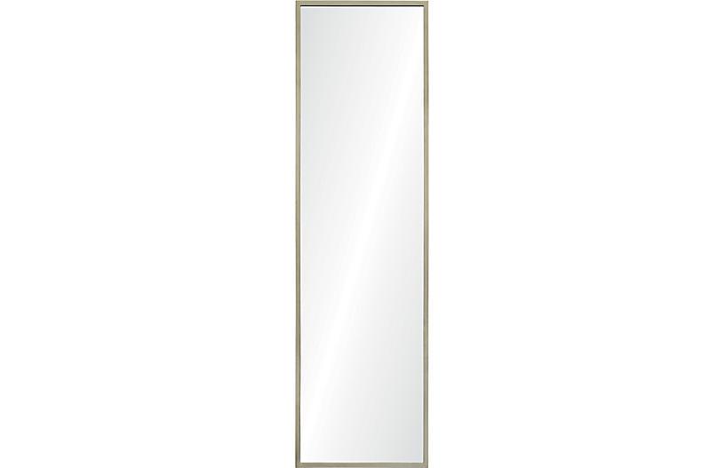 Ingrave Floor Mirror, Antiqued Silver