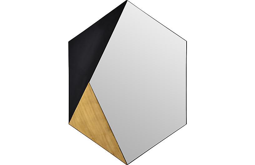 Cad Wall Mirror, Black/Gold Leaf