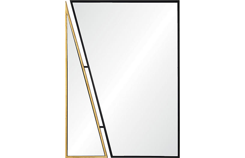 Idiom Wall Mirror, Black/Antiqued Gold