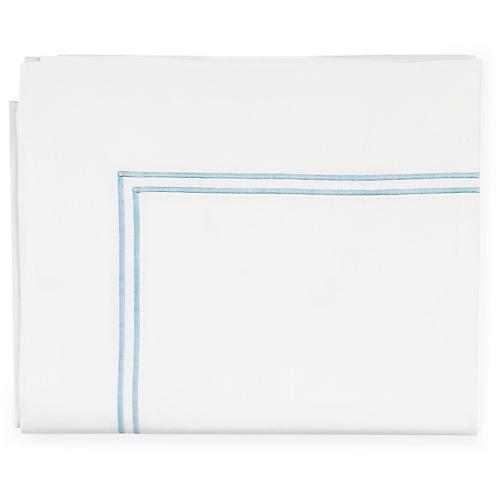 Grande Hotel Flat Sheet, White/Blue