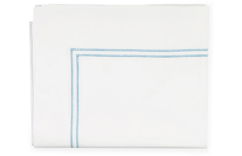 Grande Hotel Flat Sheet, White/Blue