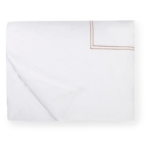 Grande Hotel Duvet Cover, White/Taupe