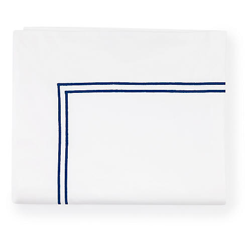 Grande Hotel Flat Sheet, White/Navy
