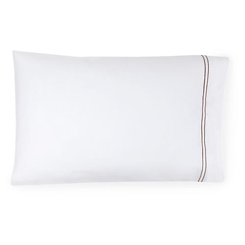 S/2 Grande Hotel Pillowcases, White/Gray
