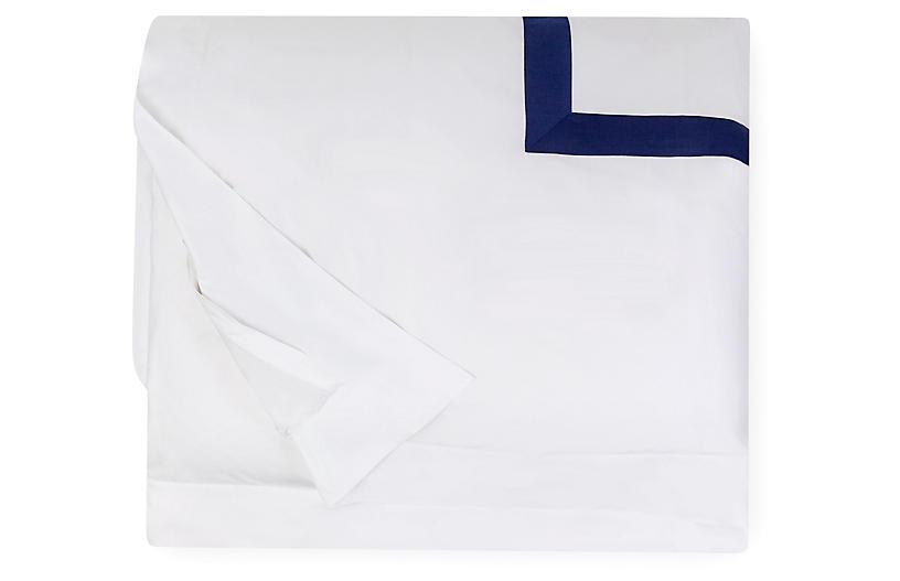 Orlo Duvet Cover, White/Navy