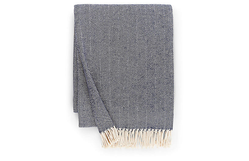 Celine Cotton Throw, Navy