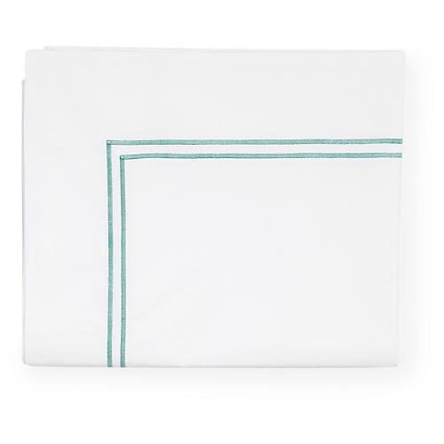 Grande Hotel Flat Sheet, White/Aqua