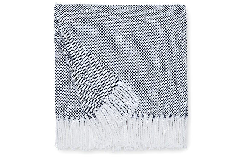 Terzo Cotton Throw, Navy
