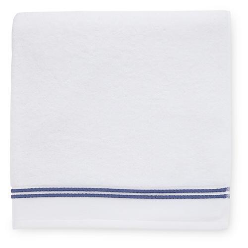 Aura Bath Towel, White/Navy