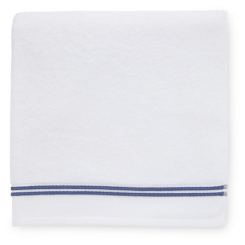 Aura Bath Towel, White/Navy