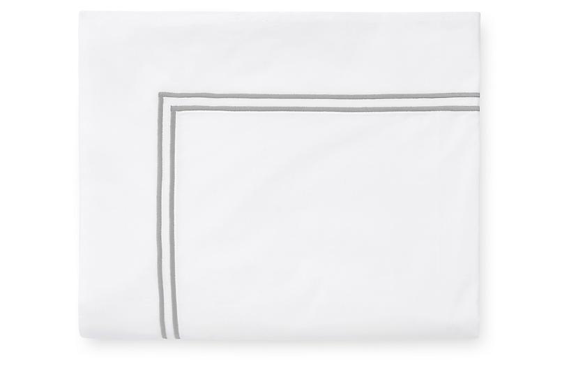 Grande Hotel Flat Sheet, White/Silver