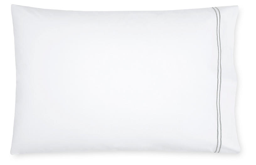 S/2 Grande Hotel Pillowcases, White/Silver
