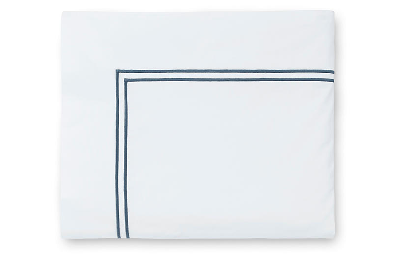 Grande Hotel Flat Sheet, White/Cadet