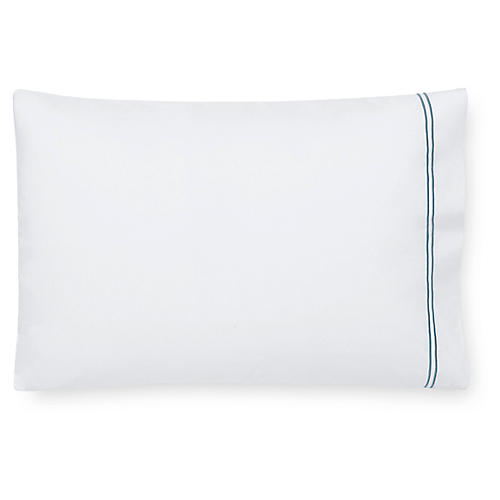S/2 Grande Hotel Pillowcases, White/Cadet