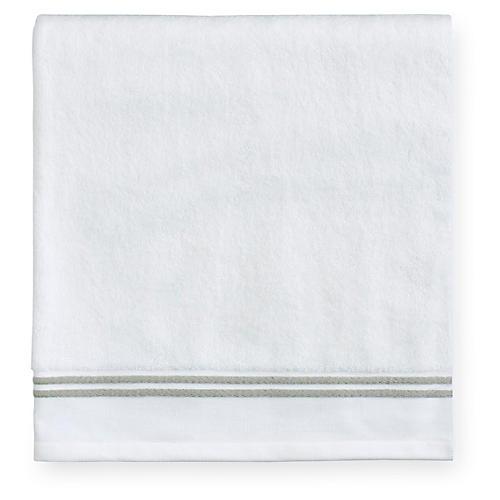 Aura Bath Towel, White/Celadon