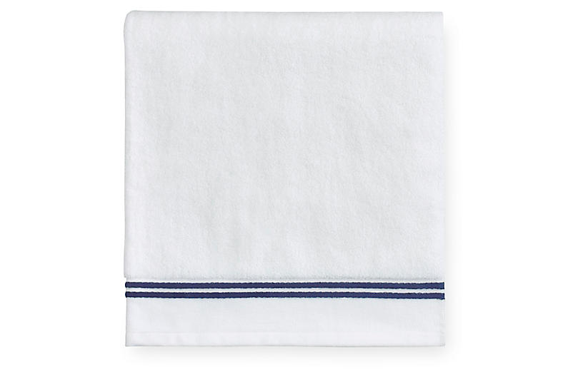 Aura Washcloth, White/Dark Blue