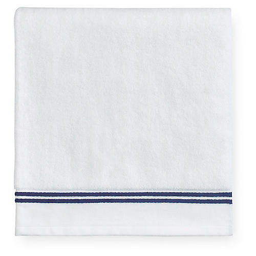 Aura Bath Towel, White/Dark Blue