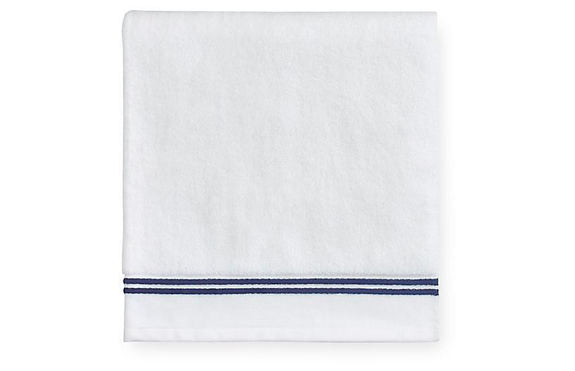Aura Bath Sheet, White/Dark Blue