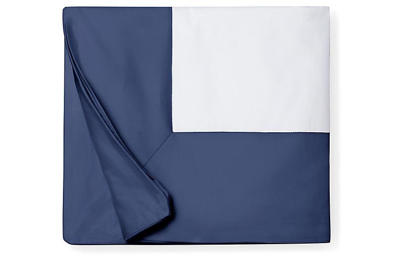 Casida Duvet Cover, White/Delft