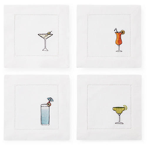 S/4 Bevande Cocktail Napkins, White/Multi