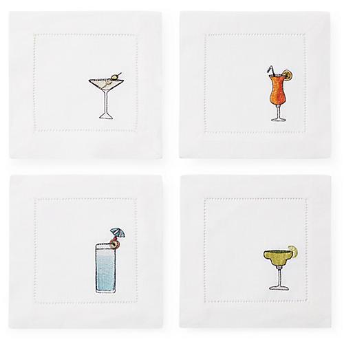 S/4 Bevande Cocktail Napkins, White/Multi