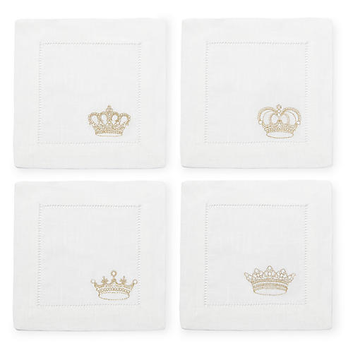 S/4 Royalty Cocktail Napkins, White/Multi