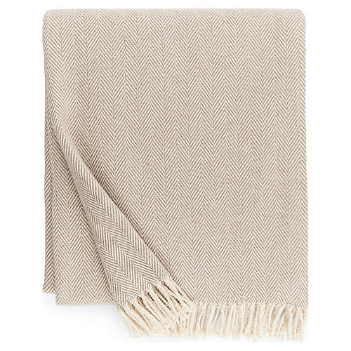 Celine Cotton Throw, Mushroom