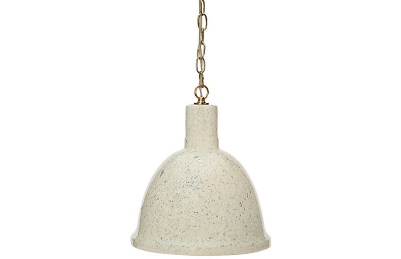 Malibu Hanging Pendant, Speckled Smoke Blue