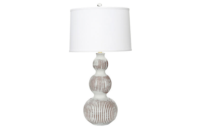 Venice Table Lamp, White/Brown