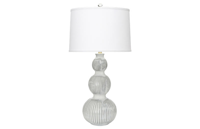 Venice Table Lamp, White/Gray
