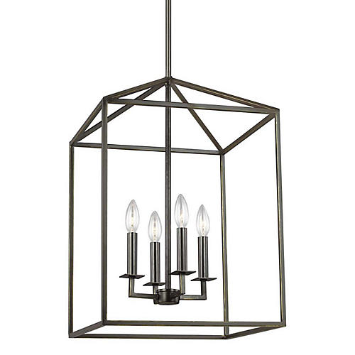 Perryton 4-Light Foyer Lantern, Heirloom Bronze