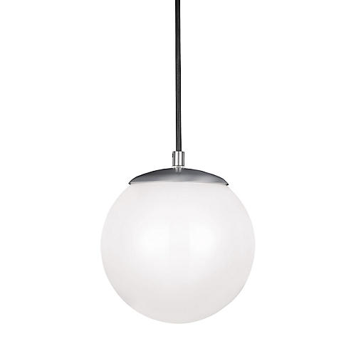 Leo LED Pendant, Satin Aluminum/White