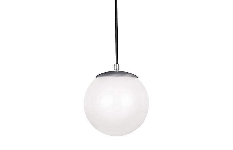 Leo LED Pendant, Satin Aluminum/White