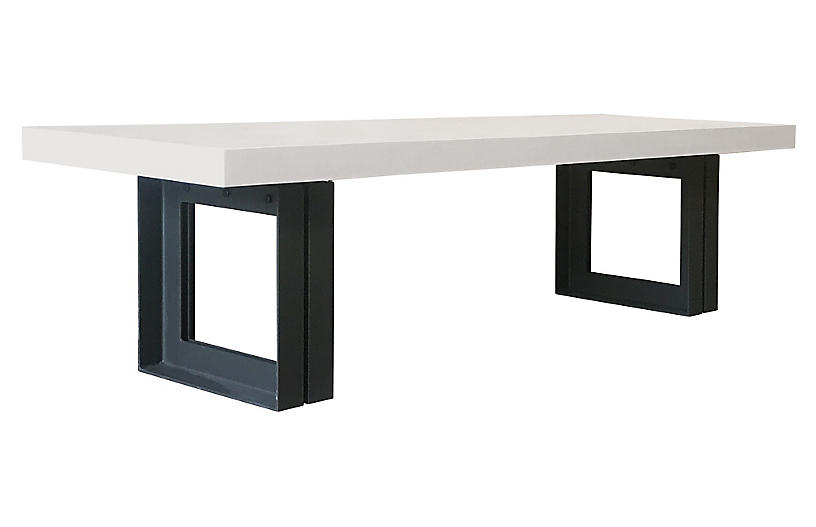 Senza Dining Table, White/Gray