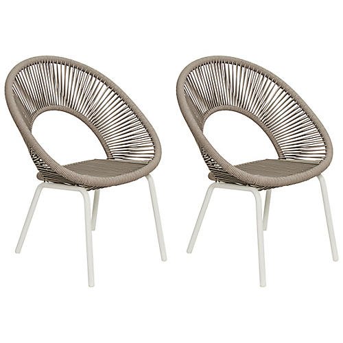 S/2 Ionian Dining Chairs, White/Taupe