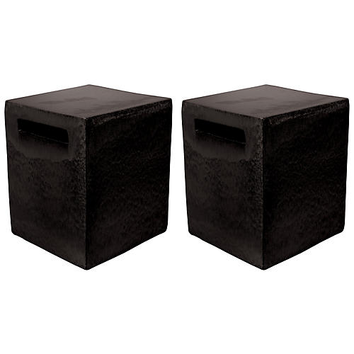 S/2 Davenport Cube Side Tables, Black