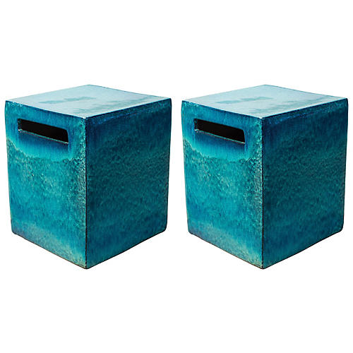 S/2 Davenport Cube Side Tables, Blue